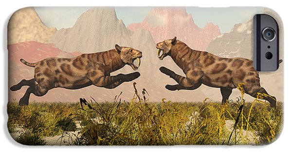 Fighting Tigers iPhone Cases - A Pair Of Sabre Tooth Tigers In A Fight iPhone Case by Mark Stevenson
