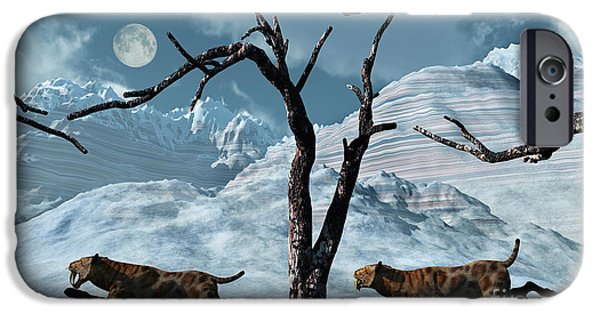 The Tiger iPhone Cases - A Pair Of Sabre-toothed Tigers Giving iPhone Case by Mark Stevenson