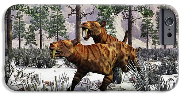 The Tiger iPhone Cases - A Pair Of Sabre-toothed Tigers Hunting iPhone Case by Mark Stevenson