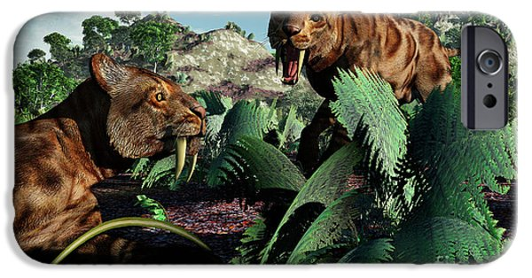 The Tiger iPhone Cases - A Pair Of Sabre-toothed Tigers iPhone Case by Mark Stevenson