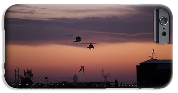 Baghdad iPhone Cases - A Pair Of Uh-60 Black Hawk Helicopters iPhone Case by Terry Moore