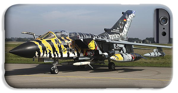 Stripe.paint iPhone Cases - A Panavia Tornado Aircraft With Special iPhone Case by Timm Ziegenthaler