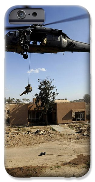 Baghdad iPhone Cases - A Pararescueman Rappels From An Hh-60 iPhone Case by Stocktrek Images