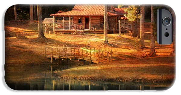 Log Cabins iPhone Cases - A Place To Dream iPhone Case by Jai Johnson