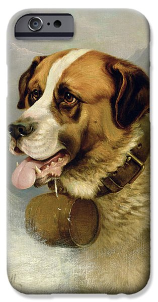 Dog In Landscape iPhone Cases - A Portrait of a St. Bernard iPhone Case by James E Bourhill