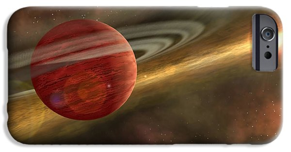 Disc iPhone Cases - A Possible Newfound Planet Spins iPhone Case by Stocktrek Images