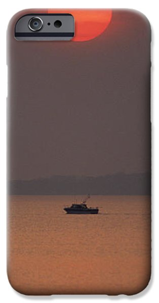 Power Pyrography iPhone Cases - A power boat on its way to the fishing grounds iPhone Case by John Harmon