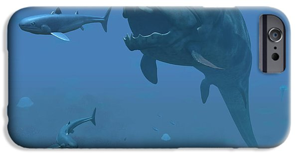 Escape iPhone Cases - A Prehistoric Dunkleosteus Fish iPhone Case by Walter Myers