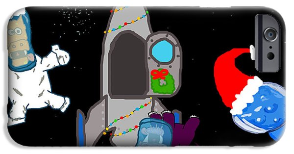 Puppy Digital Art iPhone Cases - A PuppyDragon Christmas in Space iPhone Case by Jera Sky
