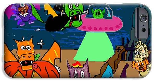 Puppy Digital Art iPhone Cases - A PuppyDragon Halloween iPhone Case by Jera Sky