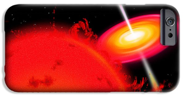 Disc iPhone Cases - A Red Giant Star Orbiting A Black Hole iPhone Case by Ron Miller