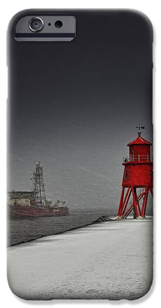 A Red Lighthouse Along The Coast In iPhone Case by John Short