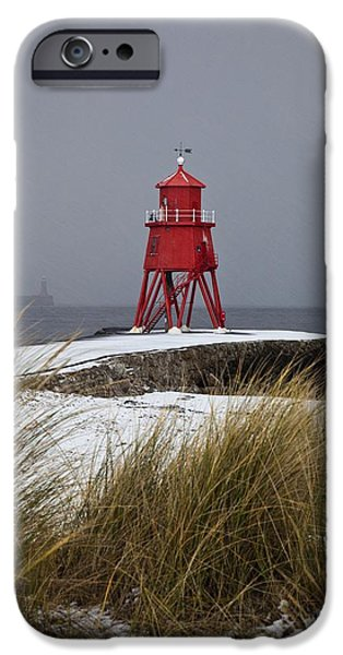 A Red Lighthouse Along The Coast South iPhone Case by John Short
