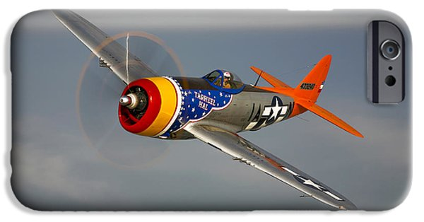 World War One iPhone Cases - A Republic P-47d Thunderbolt In Flight iPhone Case by Scott Germain
