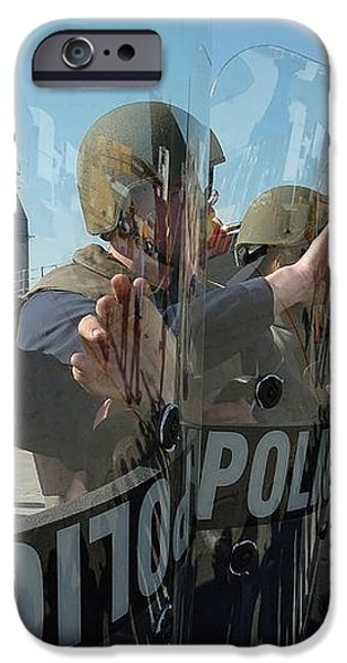 A Riot Control Team Braces iPhone Case by Stocktrek Images