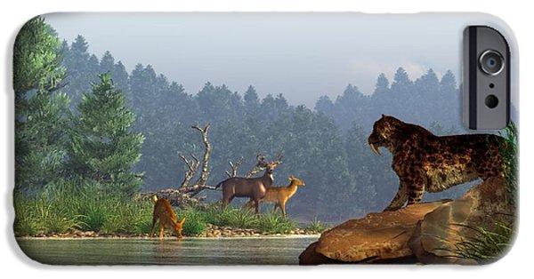 A Saber-tooth Hunting Deer iPhone Case by Daniel Eskridge