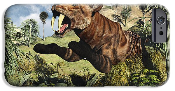 The Tiger iPhone Cases - A Sabre Tooth Tiger Springs Its Trap iPhone Case by Mark Stevenson