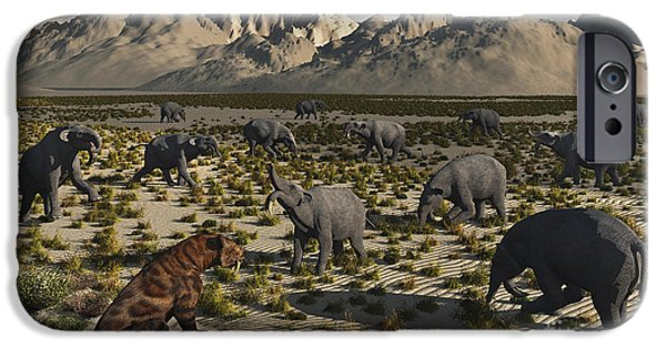 The Tiger iPhone Cases - A Sabre-toothed Tiger Stalks A Herd iPhone Case by Mark Stevenson