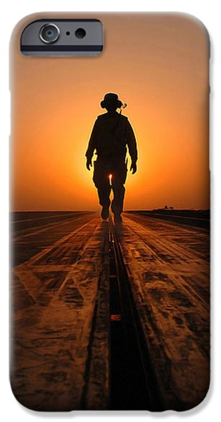 A Sailor Walks The Catapults iPhone Case by Stocktrek Images