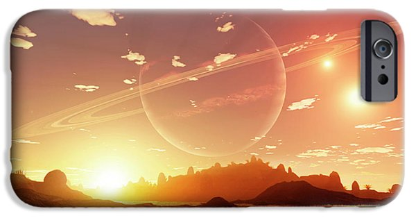 Recently Sold -  - Stellar iPhone Cases - A Scene On A Distant Moon Orbiting iPhone Case by Brian Christensen