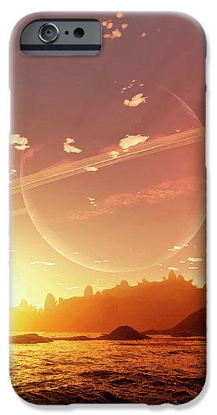 A Scene On A Distant Moon Orbiting iPhone Case by Brian Christensen