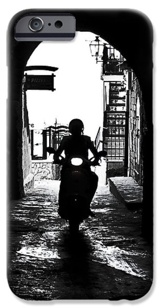 a scooter rider in the back light in a narrow street in Italy iPhone Case by Joana Kruse