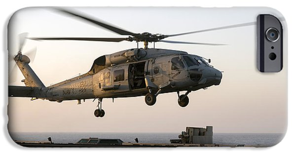 At Arrivals iPhone Cases - A Sikorsky Sh-60f Seahawk Lands iPhone Case by Gert Kromhout