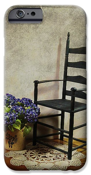 Ladderback Chair iPhone Cases - A Simpler Time iPhone Case by Judi Bagwell