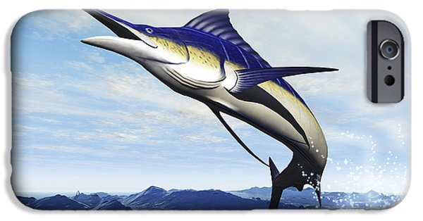 Escape iPhone Cases - A Sleek Blue Marlin Bursts iPhone Case by Corey Ford