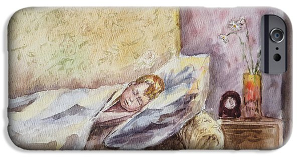 Toddler iPhone Cases - A Sleeping Toddler iPhone Case by Irina Sztukowski