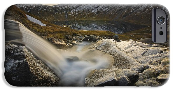 Sunset In Norway iPhone Cases - A Small Creek Running iPhone Case by Arild Heitmann