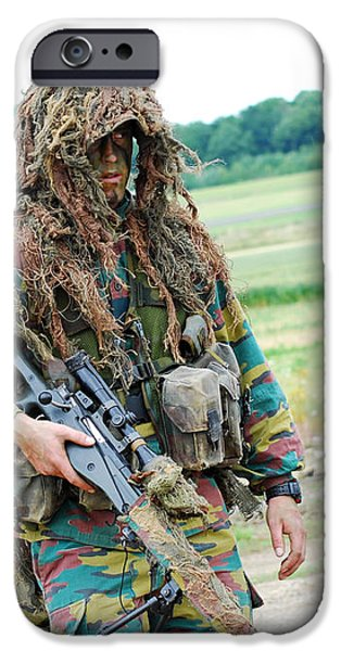 A Sniper Of The Belgian Army Together iPhone Case by Luc De Jaeger