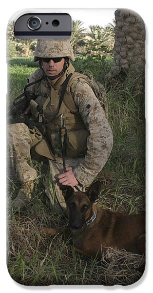 Bonding iPhone Cases - A Soldier And His Search Dog Taking iPhone Case by Stocktrek Images