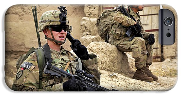 East Village iPhone Cases - A Soldier Calls In Description iPhone Case by Stocktrek Images