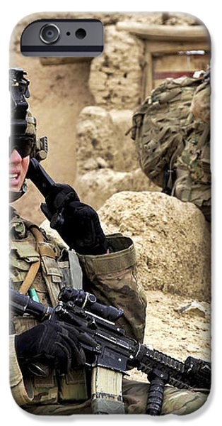 A Soldier Calls In Description iPhone Case by Stocktrek Images