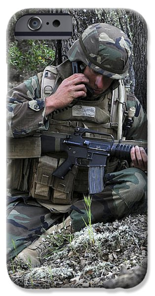 A Soldier Communicates His Position iPhone Case by Stocktrek Images