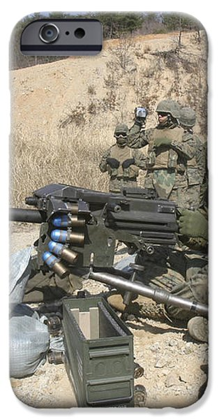 A Soldier Fires A Mk19 40mm Heavy iPhone Case by Stocktrek Images