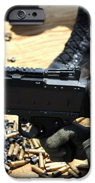 A Soldier Fires An M240b Medium Machine iPhone Case by Stocktrek Images