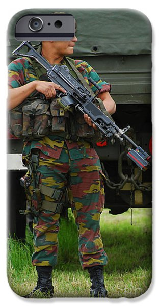 A Soldier Of An Infantry Unit iPhone Case by Luc De Jaeger