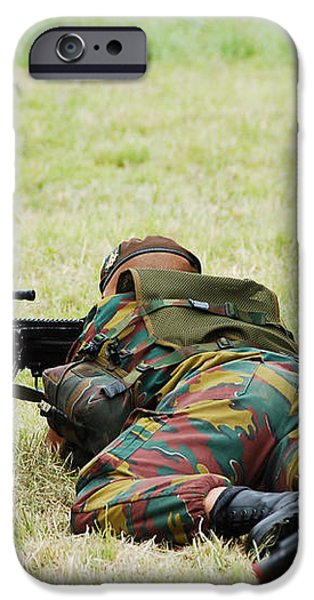 A Soldier Of The Belgian Army On Guard iPhone Case by Luc De Jaeger