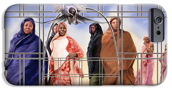 Cage Paintings iPhone Cases - A Song For The Caged Birds Of Mauritania iPhone Case by Reggie Duffie