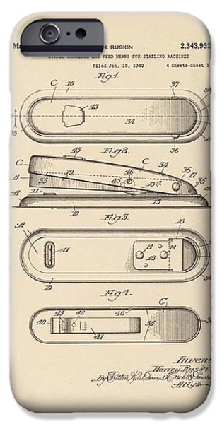 A Stapler Patent - on Pi Day iPhone Case by David Bearden