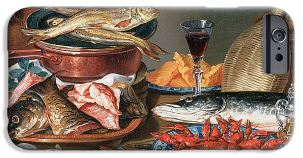Glass Of Wine iPhone Cases - A Still Life of a Fish Trout and Baby Lobsters iPhone Case by Anton Friedrich Harms