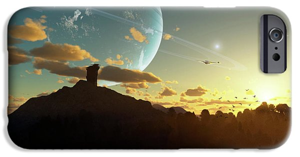 Moonscape Digital Art iPhone Cases - A Sunset On A Forested Moon Which iPhone Case by Brian Christensen