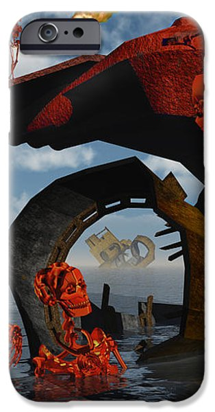 A Team Of Androids Break Down Objects iPhone Case by Mark Stevenson