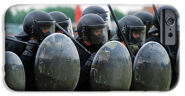 Law Enforcement iPhone Cases - A Training Session In Riot And Crowd iPhone Case by Luc De Jaeger
