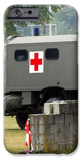 A Unimog In An Ambulance Version In Use iPhone Case by Luc De Jaeger
