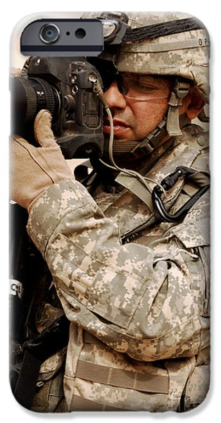 Iraq iPhone Cases - A U.s. Air Force Combat Cameraman iPhone Case by Stocktrek Images
