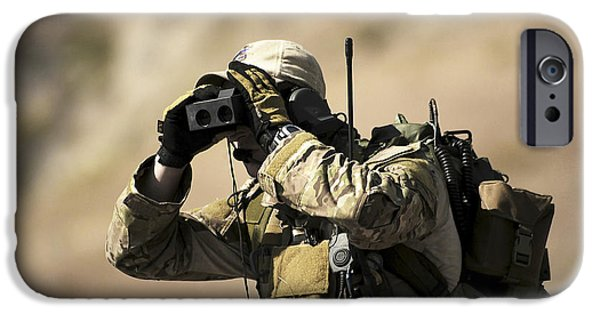 Rangefinder iPhone Cases - A U.s. Air Force Combat Controller Uses iPhone Case by Stocktrek Images