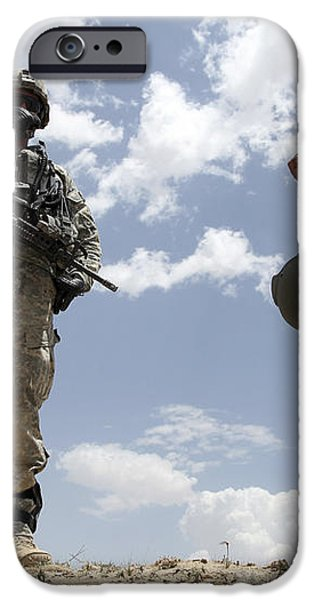 A U.s. Army Soldier Communicates iPhone Case by Stocktrek Images